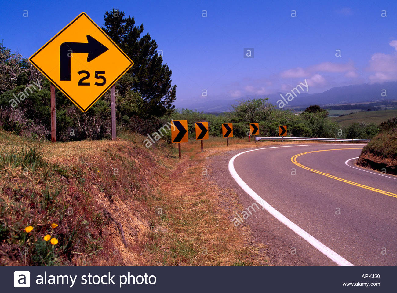 speed-limit-road-sign-warning-drivers-of-sharp-right-curve-along-pacific-APKJ20.jpg